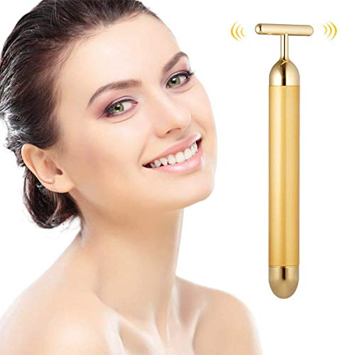 Beauty Bar 24k Golden Pulse Facial Face Massager, Electric T-Shape Sign Face Massage Tools Instant Face Lift, Anti-Wrinkles, Skin Tightening, Face Firming