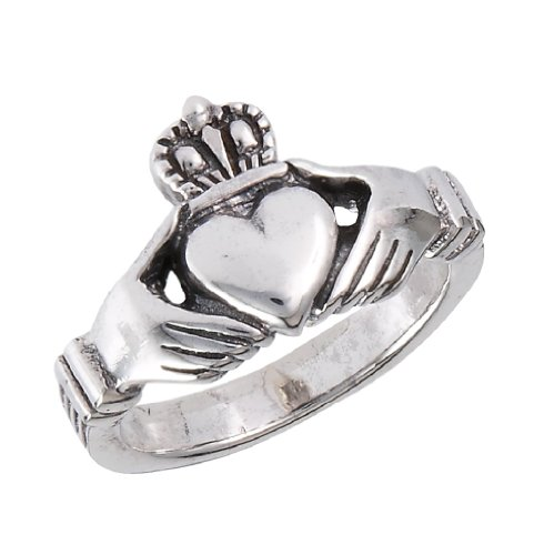 .925 Sterling Silver Traditional Claddagh Celtic Ring, Size 7