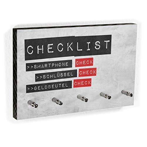 Schlüsselbrett | Checklist Nicht vergessen! - Kreative lustige Deko für den Flur 5 Haken - Handmade