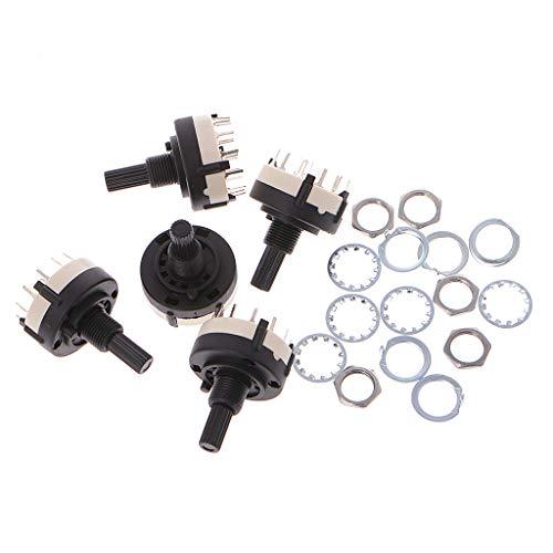 MISHITI 5 piezas 4P3T 4 3 posiciones 6 mm diámetro del eje selector rotatorio interruptor