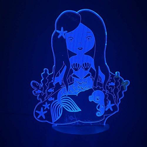 Lámpara 3D que cambia de color que ahorra energía Luz de sirena para la habitación del bebé Sensor táctil Luces nocturnas Regalo para niños Batería creativa Luz nocturna LED