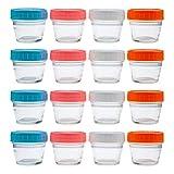 Lawei 16 contenedores de almacenamiento de alimentos para bebés con tapas de plástico, sin BPA, herméticos, 4 colores, 120 ml