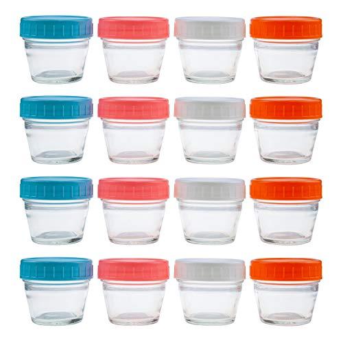 Lawei 16 Stück Aufbewahrungsbehälter Glas Marmeladenglas Mini Luftdicht Einmachglas für Babynahrung BPA-frei Vorratsdosen Babygläser mit Deckel - 4 Farben, 120 ml