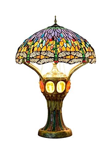 Verde de la libélula del estilo de Tiffany escritorio de la forma de la lámpara de cristal Pantalla Tabla iluminación del árbol Casa Grande turística luz decorativa for el frente interior del vestíbul
