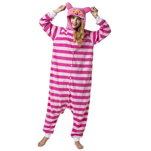 Katara 1744 -Grinsekatze Kostüm-Anzug Onesie/Jumpsuit Einteiler Body für Erwachsene Damen Herren als Pyjama oder Schlafanzug Unisex - viele verschiedene Tiere