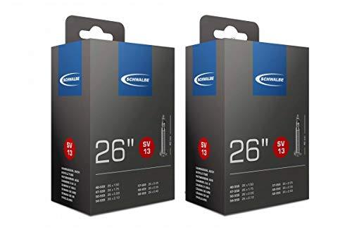 Schwalbe SV13 Innenschlauch, Schwarz, 26 Inch x 1.5-2.5 (40mm Presta Valve), 2er Pack