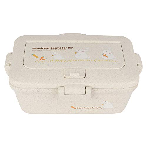 Tedemel-DFO-182-03-White Wheat Straw Bento-Style Lunch Box with a Spoon, Fork and Phone Stand – BPA-Free and Food-Safe Materials