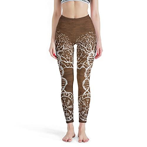 LPLoveYogaShop Yggdrasil Odin Vegvisir - Leggings vikingos para mujer, diseño de árbol, para yoga, fitness blanco M