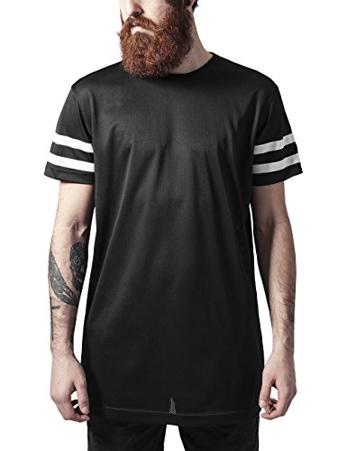 Urban Classics TB1236 Herren T-Shirt Stripe Mesh Tee, Gr. XX-Large, Mehrfarbig (blk/wht 50)