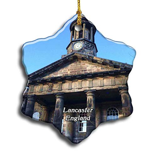 'N/A' UK England Lancaster City Museum Christmas Ceramic Ornament Xmas Tree Decor Souvenirs Double Sided Snowflake Porcelain Home Gifts