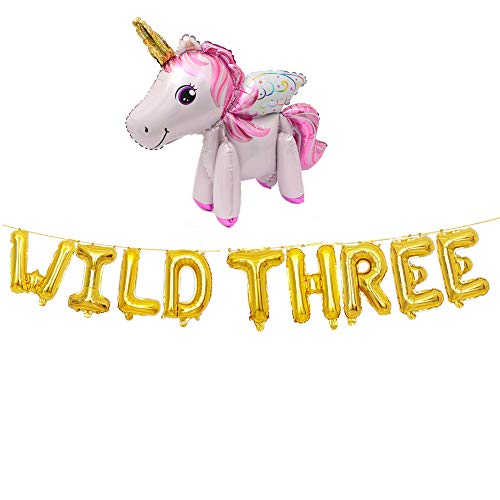 WILD THREE Balloons,Gold Letter Foil Balloons for Baby 3rd Birthday,Baby Girl Boy 3rd Bday funny party with Rainbow Horse Unicorn(gold).