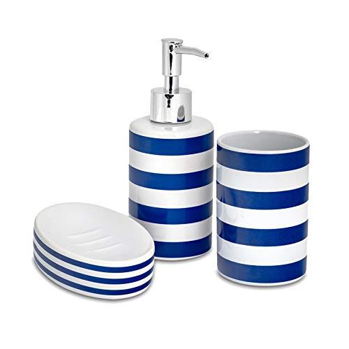 Harbour Housewares Badezimmer Handseifenspender/Dish & Zahnputzbecher 3-teiliges Set. Blau/Weiß-Streifen
