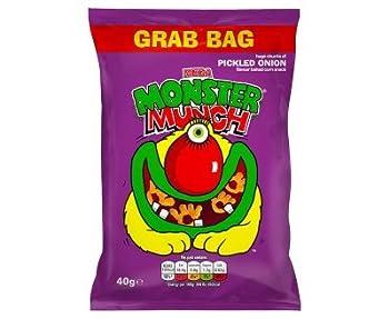 Mega Monster Munch Grab Bag Pickled Onion Flavour Baked Corn Snack  40g x 30