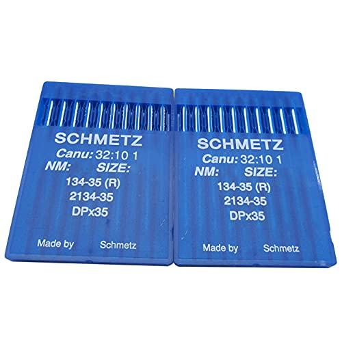 20 agujas SCHMETZ en caja de plástico transparente CKPSMS -134-35 DPX35 2134-35 compatible con/reemplazo para agujas de máquina de coser industriales de marca PFAFF y Adler(tamaño de la aguja: