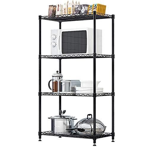 Klassieke Magnetron Oven Rekstandaard, Keukenrek Houder, Multifunctionele 4 lagen Magnetron Plank Eenvoudig te installeren, voor Badkamer, Woonkamer, Studeerkamer, Zwart
