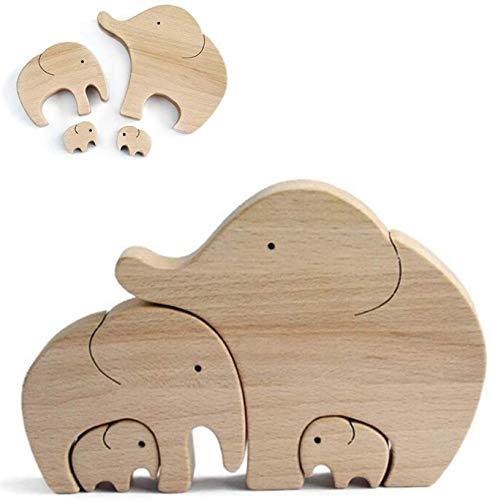 Elefante de madera para madre e hijo, adorno personalizado hecho a mano natural, decoración de escritorio, manualidades, regalos de cumpleaños para mamá (C)