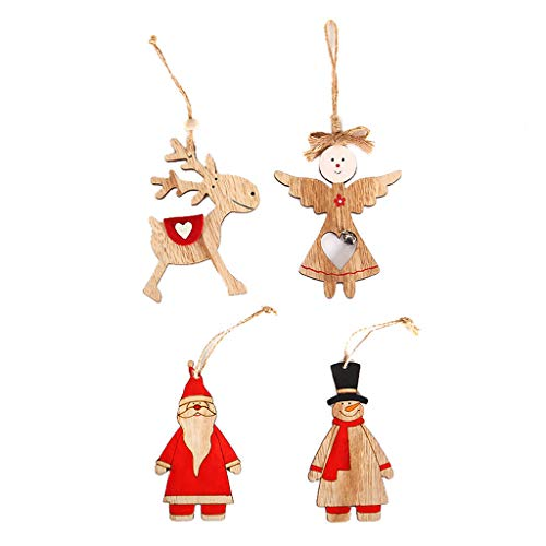 4 PCS Hanging Wood Santa Claus Ornaments,Christmas Tree Decoration,Pendant Wooden Small Hanging Ornament (Red)