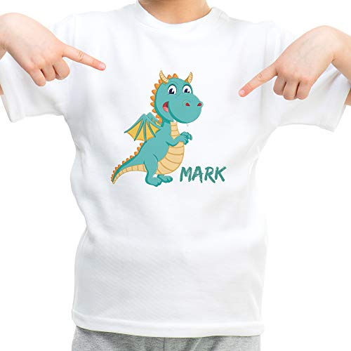 LolaPix Camiseta Niño Personalizada con Nombre/Texto. Regalos Infantiles Personalizados. Varios Diseños a Elegir. Tacto Algodón. Dragón