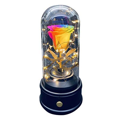 Nachtlampje, Roze, Echte Roos in Koepel van Glas, Bloemenlamp, Roze Geconserveerd met Bluetooth-luidspreker, Cadeau voor Kunstmatige Bloemen voor je op Moederdag, Verjaardag, Valentijnsdag