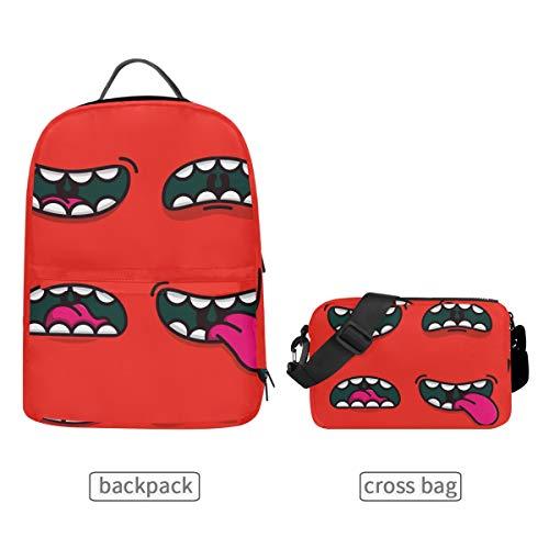 Roter Emoji-Rucksack mit Abnehmbarer Umhängetasche, für Kinder, für die Schule, für Herren, Damen, Reisen, College, lässige Schulter-Tagesrucksäcke