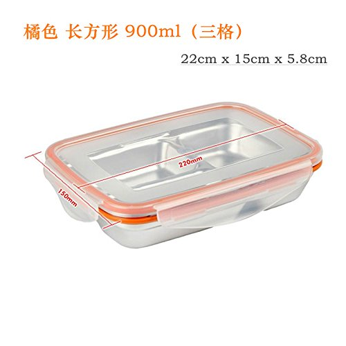 Conteneur alimentaire réutilisable/ Alimentation Boîtes de rangement, boîtes Bento en acier inoxydable Boîte de préservation d'étanchéité rectangulaire , Containerses Obento Lunch Box Boîte de fruits , Rectangle Orange ,900ml 3 cellule