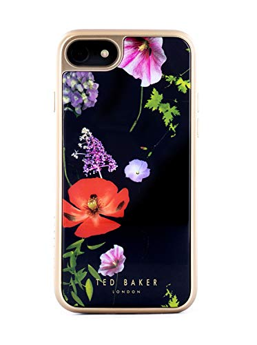 Ted Baker Patrice Mirror Glass Back Case for iPhone SE (2020) / 8/7 / 6 - Hedgerow - Navy/Pale Gold