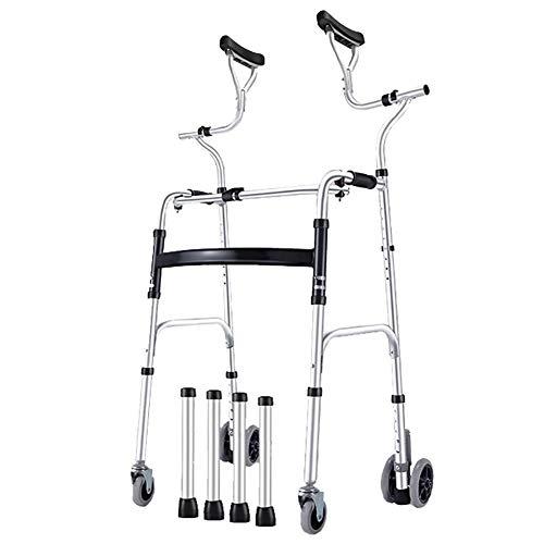 MYL Rollator Gehhilfen Gehhilfen für Senioren/Ältere Menschen Schwerlast, Höhenverstellbare Tragbare Klapprollhilfe mit Achselstütze, Unterstützung 180 Kg (Color : Walker+4 Wheels)