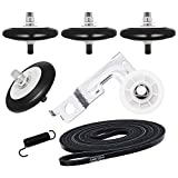 Upgraded 7 Pack Dryer Repair Kit Replacement Compatible with LG Including 4581EL2002C Dryer Drum Roller Assembly, 4561EL3002A Dryer Motor Idler Pulley, 4400EL2001A Clothes Dryer Drum Belt and Spring