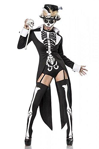 Super Deluxe Voodoo Priestess Damen Kostüm Skelett Frack Totenkopf Halloween Priester sexy, Größe:S