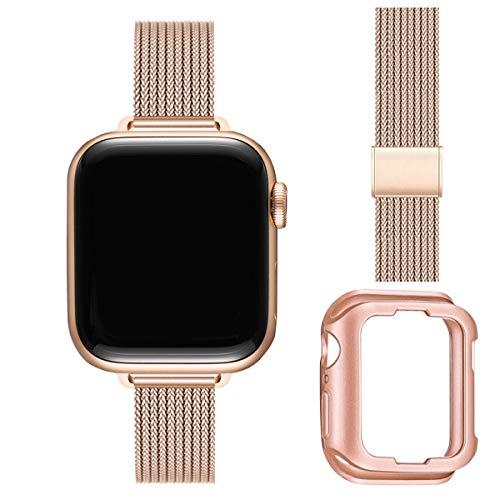 BesBand Metall Armband Kompatibel mit Apple Watch 38mm 40mm 42mm 44mm,Verstellbares Edelstahl-Ersatzband, geeignet für iWatch Serie 6 5 4 3 2 1, SE(38mm 40mm,Roségold)