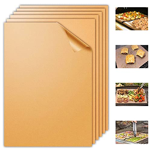 Aoocan Copper Grill Mat Set of 6-100% Non Stick Heavy Duty BBQ Grill Mats, Reusable and Easy to Clean, Works on Electric Grill Outdoor Gas Charcoal BBQ as Seen on TV- Extended Warranty