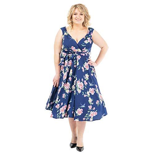 Miss Lavish London Vestidos retro de talla grande para mujer de Floral Rockabilly 40s y 50s Vintage Fashion [22 - Floral-azul marino]