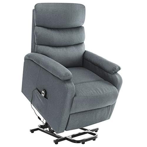 vidaXL Massagesessel mit Aufstehhilfe Heizung TV Sessel Fernsehsessel Relaxsessel Ruhesessel Polstersessel Liegesessel Lounge Hellgrau Stoff