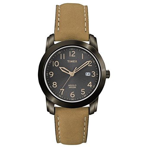 Reloj de Pulsera T2P133 Timex para Hombre, con Mecanismo de Cuarzo para Hombre Timex, Visor analógico, Esfera Negra, Correa de Piel marrón