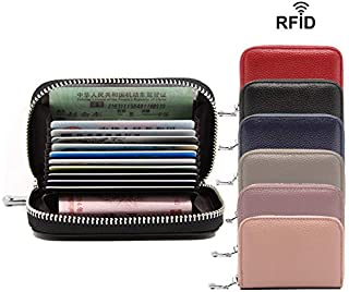 RFID Blocking Genuine Leather Credit Card Case Holder Security Travel Wallet 12 Slots Coin Purse (Pink)