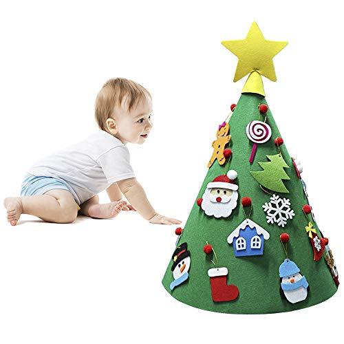 ASDOMO 3D DIY Albero di Natale in Feltro, con 18Pezzi Staccabile Ornamenti Ornamenti, Toddler Friendly da Appendere all' Albero di Natale per Bambini Natale Regali di Natale Decorazioni per la casa