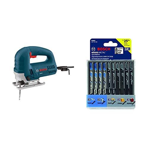 Bosch JS260 120-Volt Top-Handle Jigsaw with Bosch 10-Piece Assorted T-Shank Jig Saw Blade Set T5002