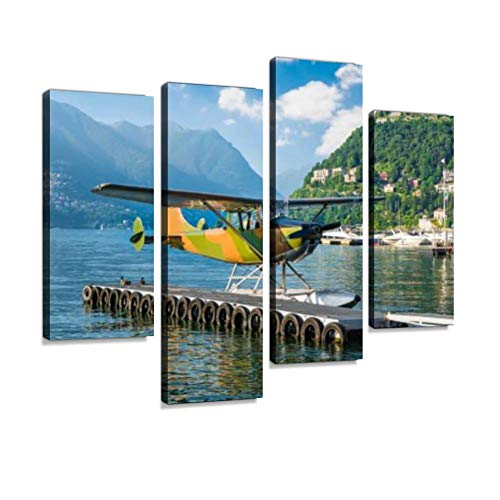 HIPOLOTUS 4 Panel Canvas Pictures Seaplane of Camouflage Color Como Harbor Como Lake Italy Mountain Wall Art Prints Paintings Stretched & Framed Poster Home Living Room Decoration Ready to Hang