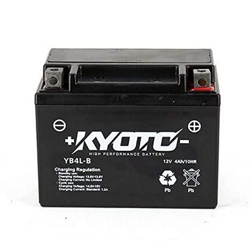 Batería moto Kyoto SLA YB4L-B AGM - Sin mantenimiento - 12 V 4 Ah - Dimensiones: 120 x 71 x 92 mm compatible con DERBI Hunter 50 1996-1997