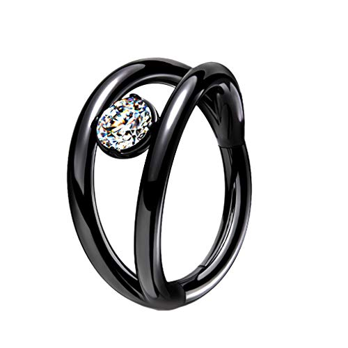 TATA GISELE Piercing Ring for Ear Piercing in 316L Surgical Steel and Cubic Zirconia – Double Ring with a Clear Cubic Zirconia Centre – 8 mm Noir / Clair