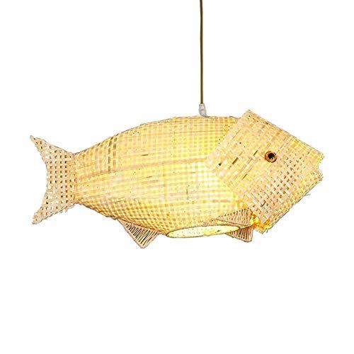 Accesorio de iluminación Forma de peces de bricolaje Colgante Luz Mano-tejido de bambú de bambú Lámpara colgante de estilo húmedo de estilo chino Retro Retro araña de bambú para restaurante Sala de té