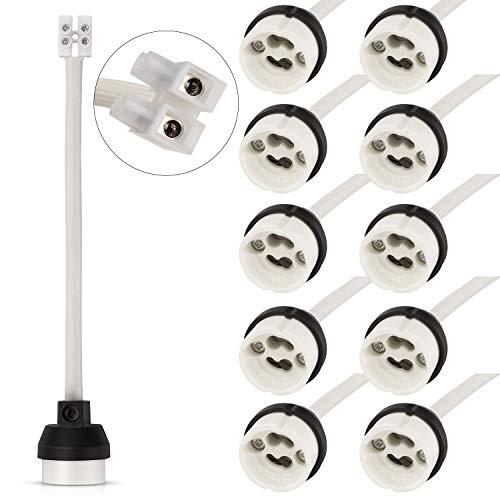 DiCUNO GU10 Portalámparas, 0.75mm² 15CM/150MM Cable, GU10 Conector Base de cerámica para...