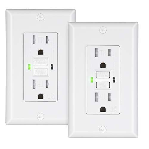 DEWENWILS 15A GFCI Outlet Receptacle, Self-Test GFCI with LED Indicator, Tamper Resistant, Weather Resistant, Decorative Wallplate Included, UL Listed, 2-Pack, White