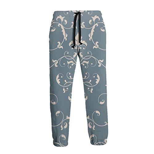 Damask Element Elegant Luxury Texture Hombres Pantalones Deportivos Pantalones de Chándal Suaves con Bolsillos Pantalones Jogger para Entrenamiento de Entrenamiento de Gimnasio S