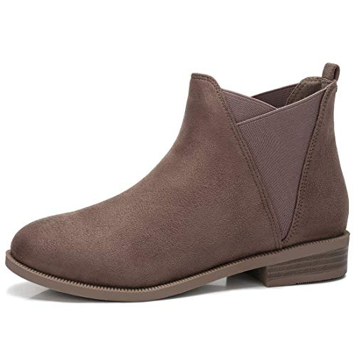CAMEL CROWN Chelsea Boots Damen Ankle Boots Slip-On Stiefeletten Flache Blockabsatz Stiefel Klassisch Komfortable Rutschfest für Daily Casual  Taupe ,42EU