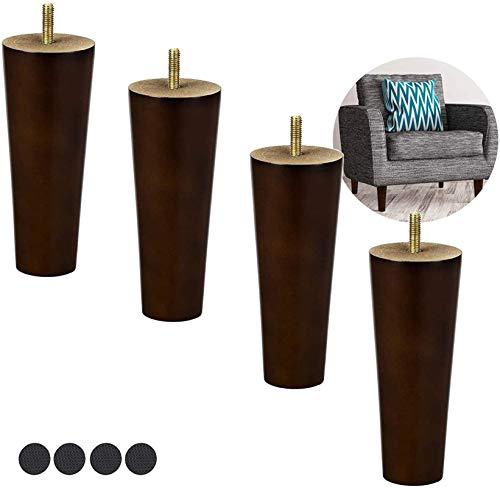 Patas para muebles, Patas de muebles Feets de madera 3inches 6 pulgadas - Conjunto de 4 pies de reemplazo con forma de cono de madera con cono, operación simple, para la mesa de comedor de la cama del