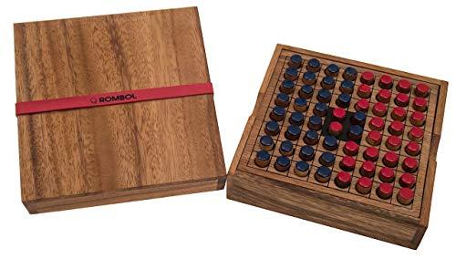 ROMBOL Reversi - Interessantes Strategiespiel für 2 Personen inkl. praktischem Verschlussband, Farbe:rot/blau
