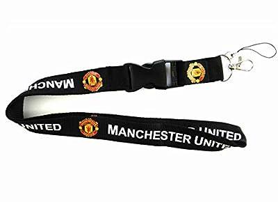 AJBOY Football Club Soccer Team Lanyard Key/Papers Hanging Lanyard (Manchester United Black, 21.6-1 inch)