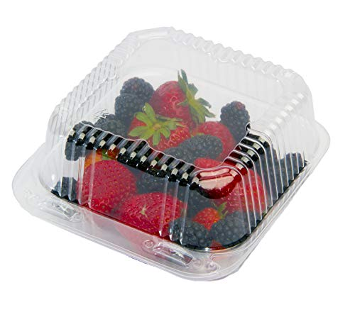eHomeA2Z Food Containers Clear with Lids (125 Pack) Cake Container, USA Made, 5x5 Inch, Sandwiches, Pasta, Salad, Dessert, Disposable Plastic Clamshell Hinged Take Out Clam Shells to Go