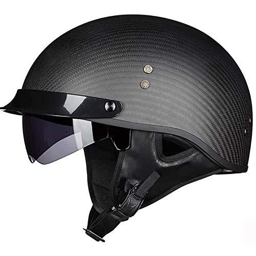 CZLWZZD Schale Aus Kohlefaser Motorradhelme, DOT-zertifizierter Sicherheitsschutzhelm mit Schutzbrille Visier für Cruiser Chopper Scooter Motorrad Jet Open Face Helm